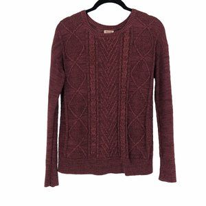 Mossimo Burgundy red cable knit sweater